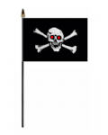 Pirate Jolly Roger Red Eyes Hand Flag - Small